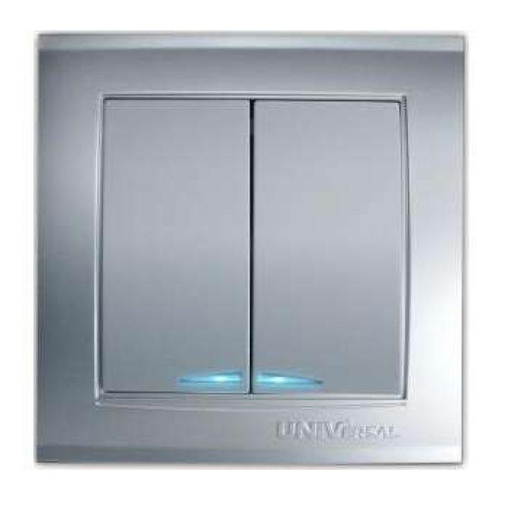 Выключатель 2-кл. СП Бриллиант 10А IP20 с подсветкой серебр. Universal 7949667