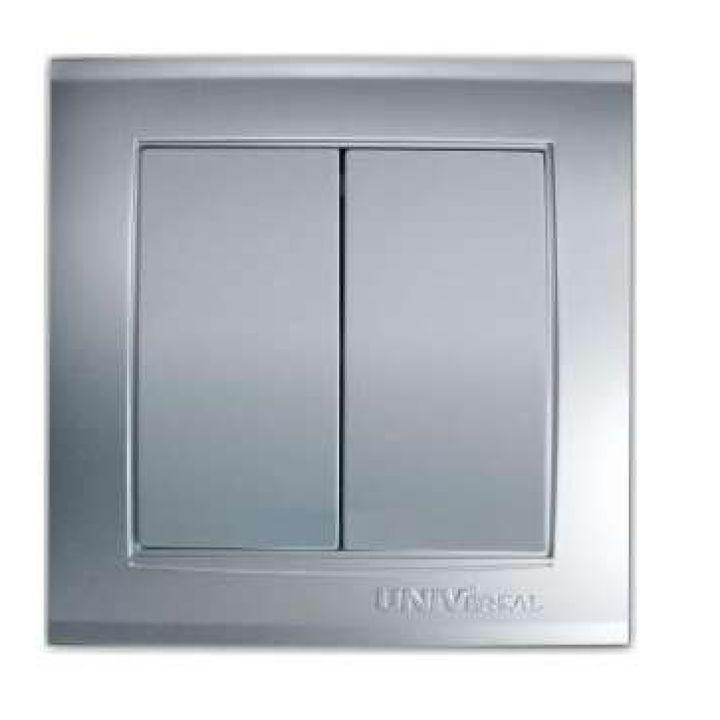 Выключатель 2-кл. СП Бриллиант 10А IP20 серебр. Universal 7949650