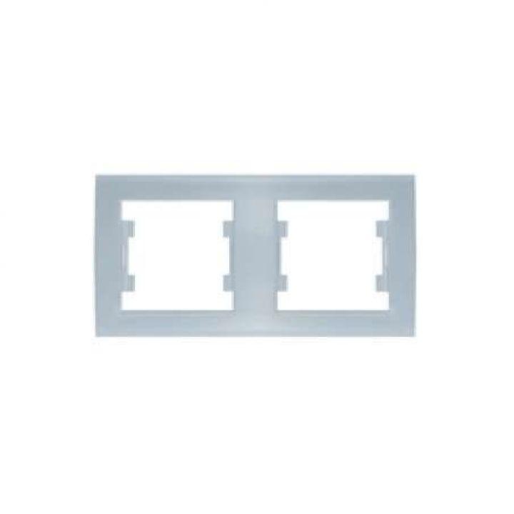 Рамка 2-м Бриллиант горизонт. серебр. UNIVersal 7949711