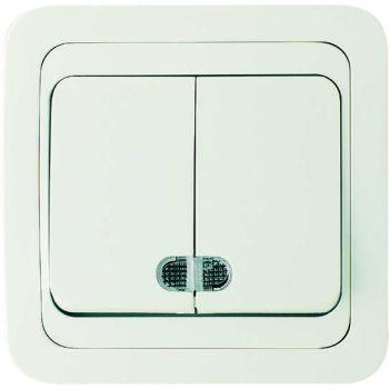 Выключатель 2-кл. СП Mimoza 10А IP20 с подсветкой бел./бел. Makel 12023