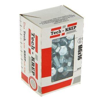Болт М6х16 с шестигранной головкой цинк. DIN 933 (уп.100шт) коробка Tech-Krep 105200