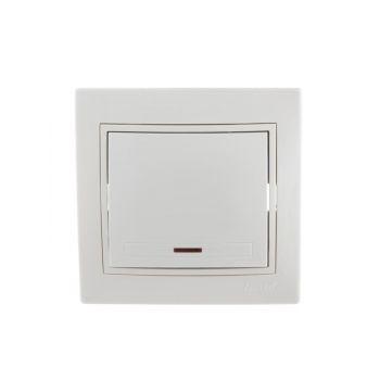Выключатель 1-кл. СП Мира 10А IP20 с подсветкой бел./бел. LEZARD 701-0202-111