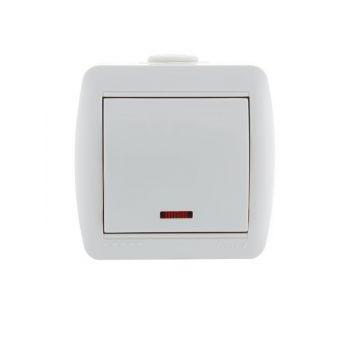 Выключатель 1-кл. ОП Ната 10А IP20 с подсветкой бел. LEZARD 710-0200-111