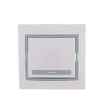 Выключатель 1-кл. СП Мира 10А IP20 бел./сер. LEZARD 701-0215-100