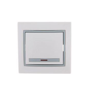 Выключатель 1-кл. СП Мира 10А IP20 с подсветкой бел./сер. LEZARD 701-0215-111