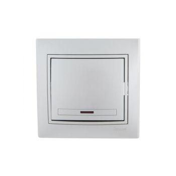 Выключатель 1-кл. СП Мира 10А IP20 с подсветкой метал. сер. LEZARD 701-1010-111