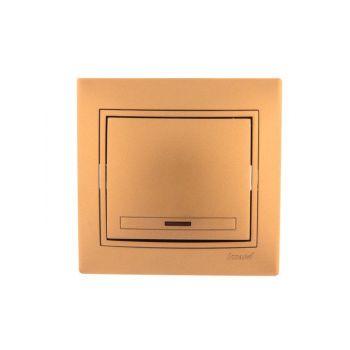 Выключатель 1-кл. СП Мира 10А IP20 с подсветкой метал. зол. LEZARD 701-1313-111