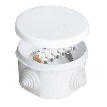 Коробка распр. ОП d75х45 4 выхода 4 гермоввода с клемм. 10А 6 контактов IP54 крышка защелкивающаяся бел. Epplast 240343