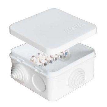 Коробка распр. ОП 75х75х45 7 выходов 3 гермоввода с клемм. 10А 6 контактов IP54 крышка защелкивающаяся бел. Epplast 220323