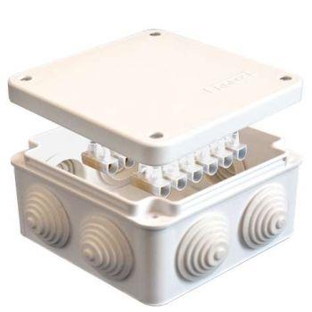Коробка распр. ОП 105х105х56 7 выходов 4 гермоввода с клемм. 10А 12 контактов IP54 крышка на винтах бел. Epplast 110043