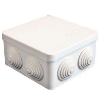 Коробка распр. ОП 105х105х56 7 выходов 4 гермоввода IP54 крышка защелкивающаяся бел. Epplast 100011