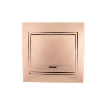 Выключатель 1-кл. СП Мира 10А IP20 с подсветкой свет. корич. перламутр LEZARD 701-3131-111