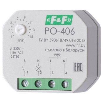Реле времени PO-406 (задержка выкл. /управ. контактом 230В 8А 1НО IP20 монтаж в коробку d-60мм) F&F EA02.001.019