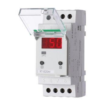 Регулятор температуры RT-820M (от -30 до +140 град.C; микропроцессорный; многофункц.; цифровая индикация; выносной датчик с термоус. проводом; монтаж на DIN-рейке 35мм 24-264В DC/ 30-264В АС 16А 1Z IP20) F&F EA07.001.007