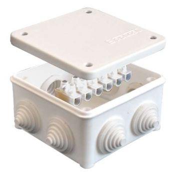 Коробка распр. ОП 85х85х45 7 выходов 3 гермоввода с клемм. 10А 6 контактов IP54 крышка на винтах бел. Epplast 130113