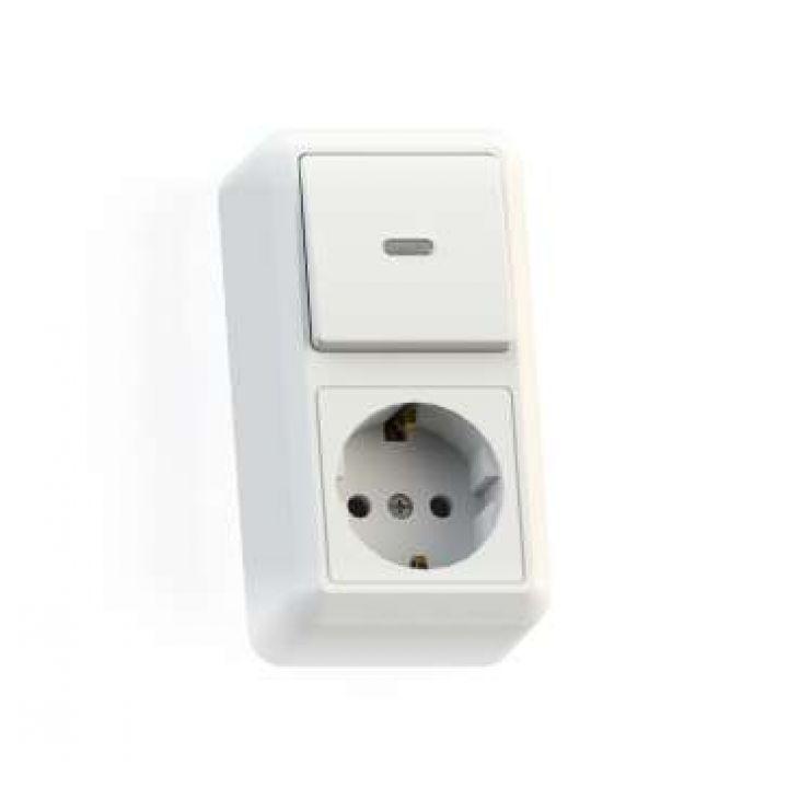 Блок комбинированный ОП БКВР-432 Оптима (1-кл. выкл. с подсветкой + розетка с заземл.) бел. Кунцево 8065