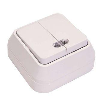 Выключатель 2-кл. ОП 10А IP20 с подсветкой бел. Makel 45123