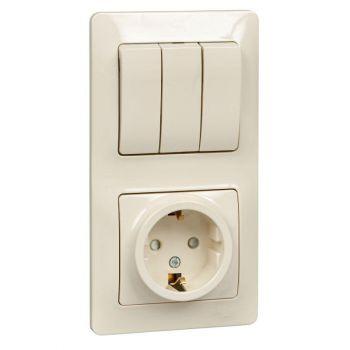 Блок комбинированный GLOSSA розетка защ. шторки с заземл. + выкл. 3-кл. беж. SchE GSL000278