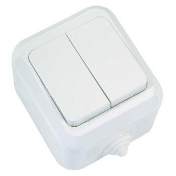 Выключатель 2-кл. ОП 10А IP44 п/герм. бел. Makel 18301