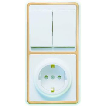 Блок БКВР-035 Бэлла (2-кл. выкл. + евророзетка с защ. шторками) зол. Кунцево 5836