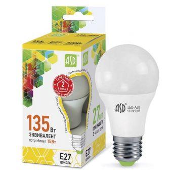 Лампа светодиодная LED-A60-standard 15Вт грушевидная 3000К тепл. бел. E27 1350лм 160-260В ASD 4690612002088