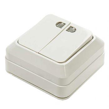 Выключатель 2-кл. BOLLETO с подсвет. накл. 7123 бел. ASD / IN HOME 4680005959778
