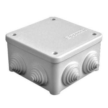 Коробка распр. ОП 85х85х45 7 выходов 3 гермоввода IP54 крышка на винтах сер. Epplast 130112