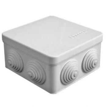 Коробка распр. ОП 105х105х56 7 выходов 4 гермоввода IP54 крышка защелкивающаяся сер. Epplast 100012