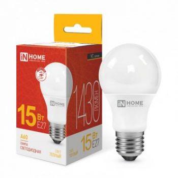 Лампа светодиодная LED-A60-VC 15Вт 230В E27 3000К 1350Лм IN HOME 4690612020266