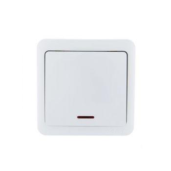 Выключатель 1-кл. ОП VIOLA 10А IP20 с подсветкой бел. LEZARD 751-0200-111